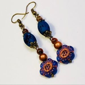 Titanium Druzy & Czech Glass Flower Earrings